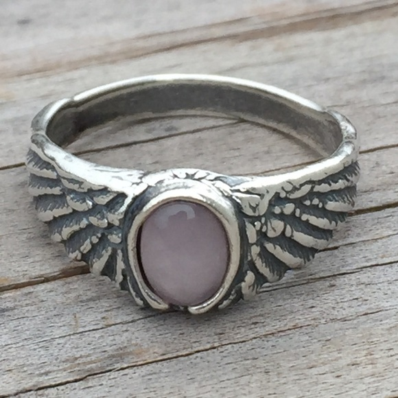 1518e6877 Eagle Wing Ring Sterling Silver w/ Rose Quartz. Boutique. Wellstone Jewelry